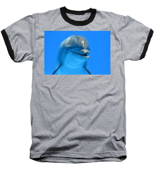Happy Smiling Dolphin Baseball T-Shirt by Richard Bryce and Family