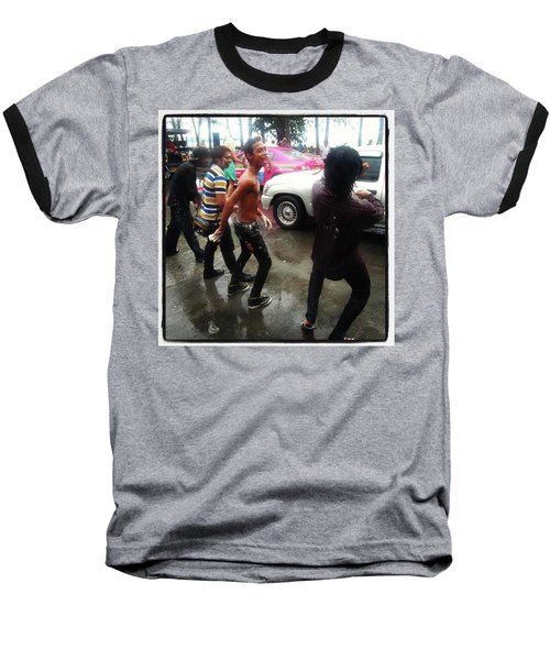 Baseball T-Shirt featuring the photograph Happy Songkran. The Water Splashing by Mr Photojimsf