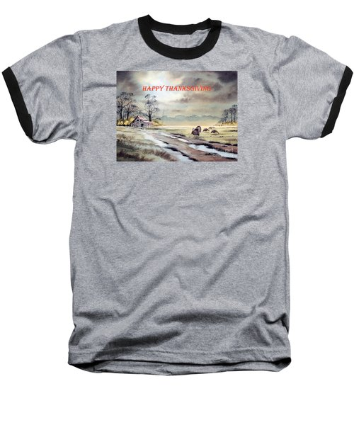 Baseball T-Shirt featuring the painting Happy Thanksgiving  by Bill Holkham