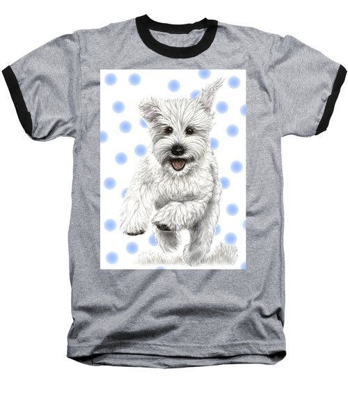 Baseball T-Shirt featuring the drawing Happy Blue Polka Dots Doggy by Heidi Kriel