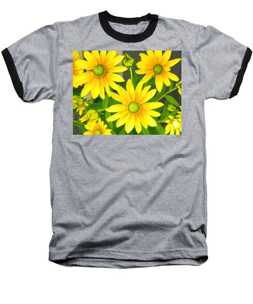 Happy Yellow Summer Cone Flowers In The Garden Baseball T-Shirt