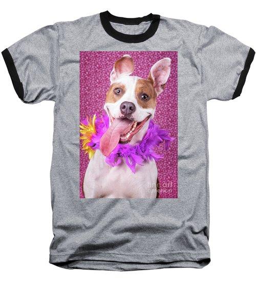 Hapy Dog Baseball T-Shirt by Stephanie Hayes