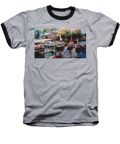 Harbor Sailboats At Rest Baseball T-Shirt by Ron Chambers