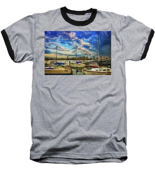 Harbor Scene Baseball T-Shirt by Joseph Hollingsworth