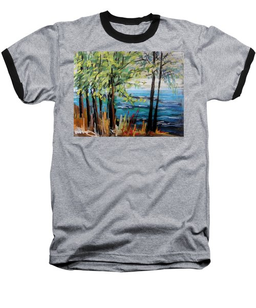 Harbor Trees Baseball T-Shirt by John Williams