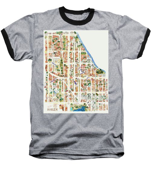 Harlem Map From 106-155th Streets Baseball T-Shirt