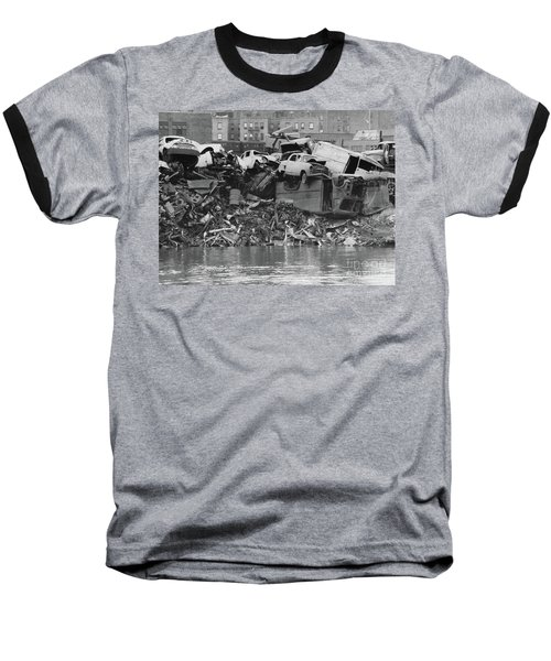 Harlem River Junkyard, 1967 Baseball T-Shirt by Cole Thompson