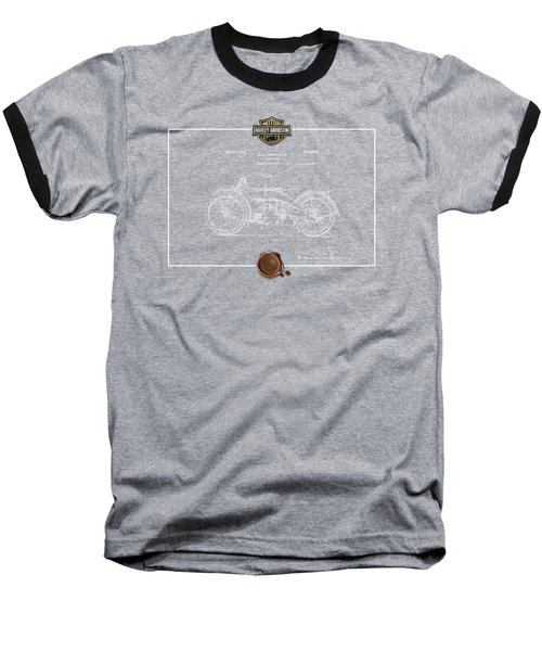 Baseball T-Shirt featuring the digital art Harley-davidson 1924 Vintage Patent Blueprint  by Serge Averbukh
