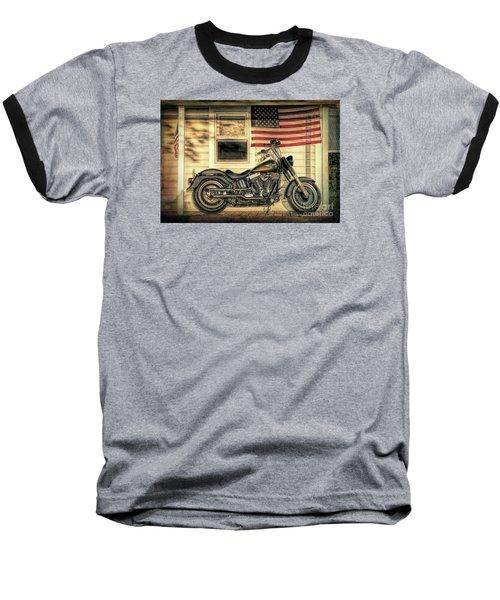 Harley Davidson Fat Boy Baseball T-Shirt by George Robinson