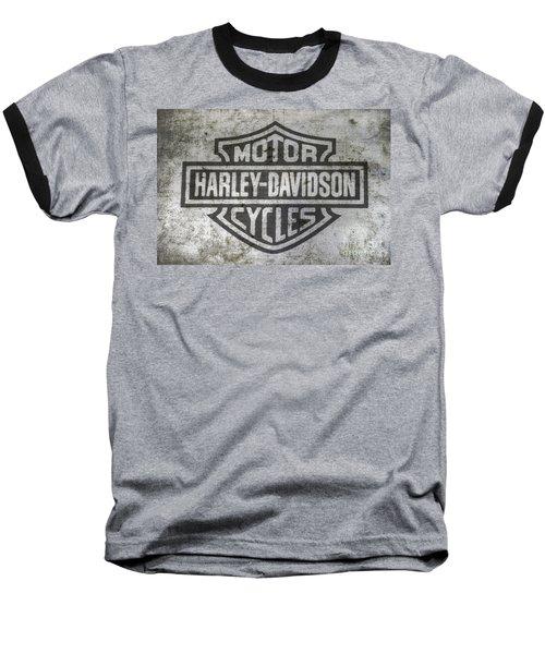 Harley Davidson Logo On Metal Baseball T-Shirt by Randy Steele