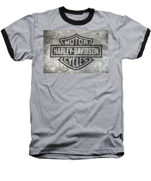 Harley Davidson Logo On Metal Baseball T-Shirt
