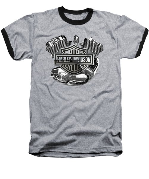 Baseball T-Shirt featuring the digital art Harley-davidson Motorcycle Engine Detail With 3d Badge  by Serge Averbukh