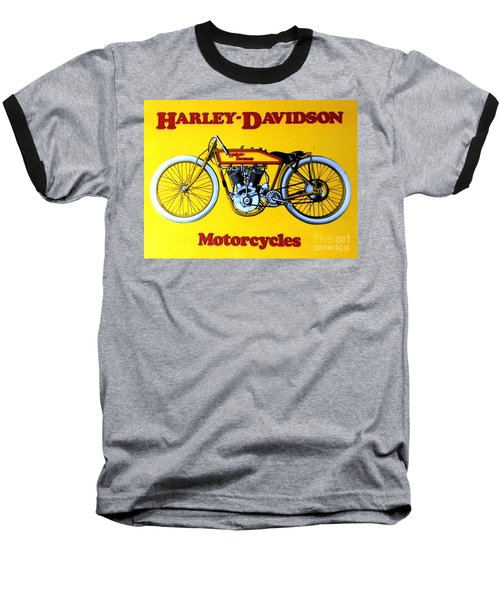 Baseball T-Shirt featuring the painting Harley - Davidson  Poster by Pg Reproductions