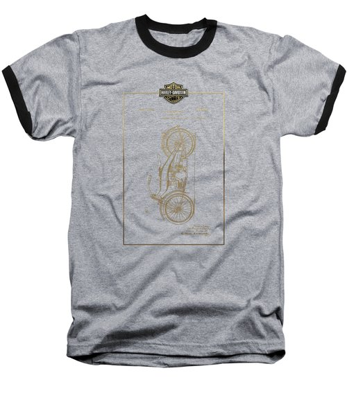 Baseball T-Shirt featuring the digital art Harley-davidson Vintage 1924 Patent In Gold With 3d Badge On Black by Serge Averbukh