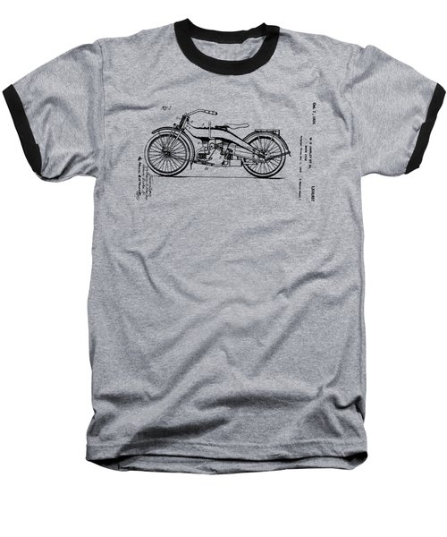Baseball T-Shirt featuring the drawing Harley Motorcycle Patent by Bill Cannon
