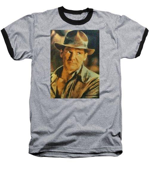 Baseball T-Shirt featuring the digital art Harrison Ford As Indiana Jones by Charmaine Zoe