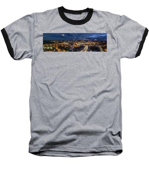 Hartford Ct Night Panorama Baseball T-Shirt by Petr Hejl