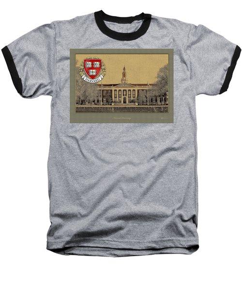 Harvard University Building With Seal Baseball T-Shirt