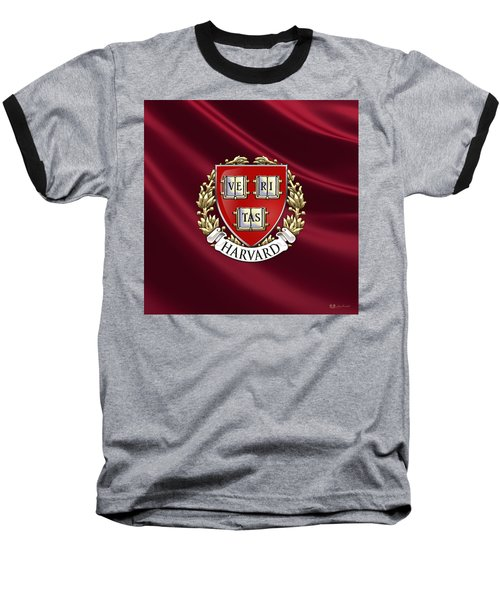 Harvard University Seal Over Colors Baseball T-Shirt