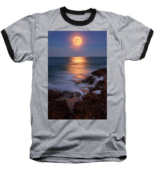 Harvest Moon Rising Over Beach Rocks On Hutchinson Island Florida During Twilight. Baseball T-Shirt by Justin Kelefas