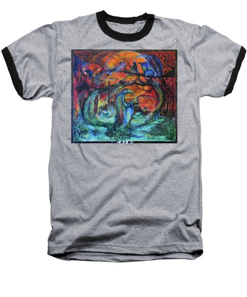 Baseball T-Shirt featuring the painting Harvesters Of The Autumnal Swamp by Christophe Ennis