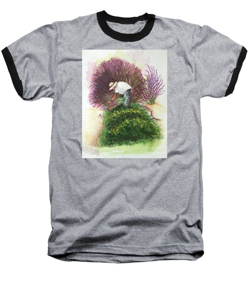 Baseball T-Shirt featuring the painting Harvesting Lavender by Lucia Grilletto