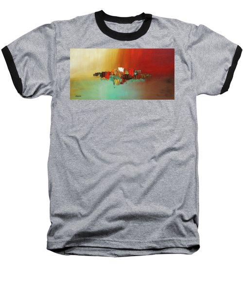 Baseball T-Shirt featuring the painting Hashtag Happy - Abstract Art by Carmen Guedez