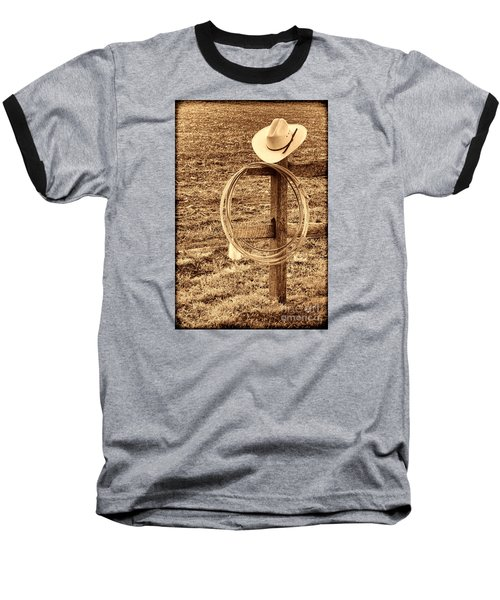 Hat And Lariat On A Post Baseball T-Shirt by American West Legend By Olivier Le Queinec