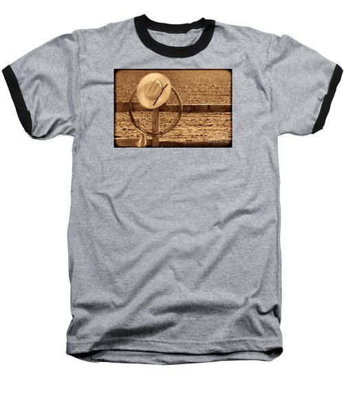 Hat And Lasso On A Fence Baseball T-Shirt by American West Legend By Olivier Le Queinec