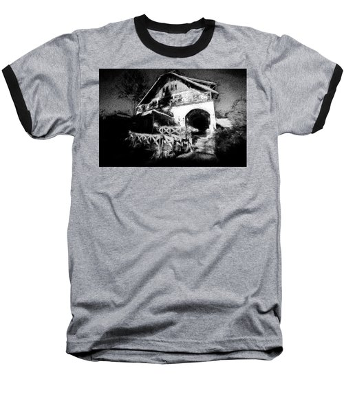 Haunted House Baseball T-Shirt by Celso Bressan