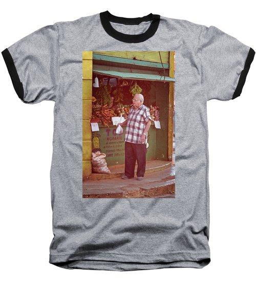 Baseball T-Shirt featuring the photograph Havana Cuba Corner Market by Joan Carroll
