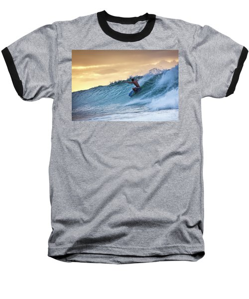 Hawaii Bodysurfing Sunset Polihali Beach Kauai  Baseball T-Shirt