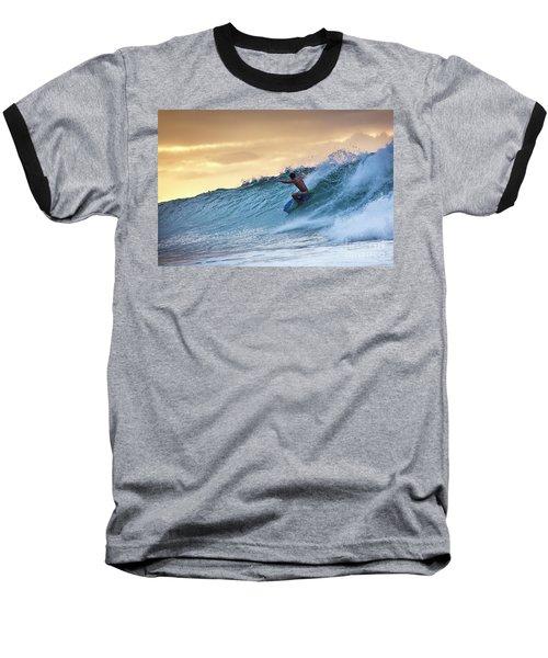 Hawaii Bodysurfing Sunset Polihali Beach Kauai  Baseball T-Shirt