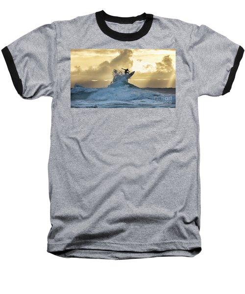 Hawaii Surfing Sunset Polihali Beach Kauai Baseball T-Shirt