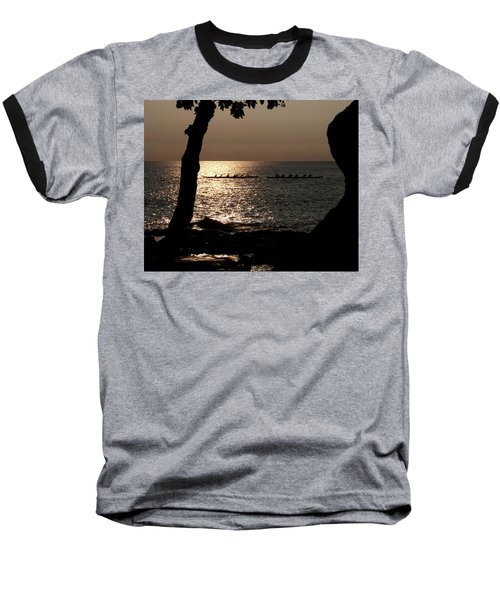 Hawaiian Dugout Canoe Race At Sunset Baseball T-Shirt