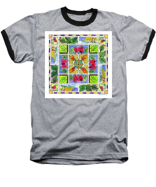 Hawaiian Mandala Iv - Anthuriums Baseball T-Shirt