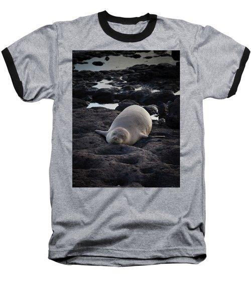 Hawaiian Monk Seal Baseball T-Shirt by Roger Mullenhour