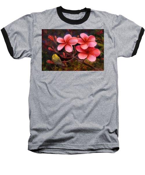 Hawaiian Pink Plumeria And Amakihi Bird Baseball T-Shirt
