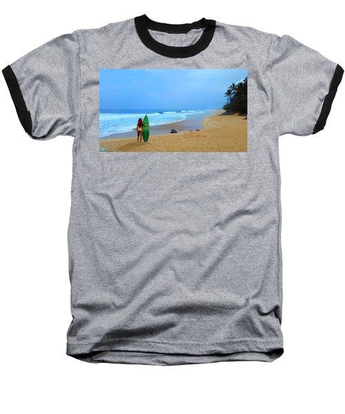 Hawaiian Surfer Girl Baseball T-Shirt by Michael Rucker