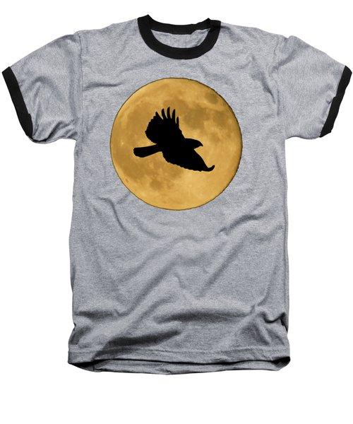 Hawk Flying By Full Moon Baseball T-Shirt