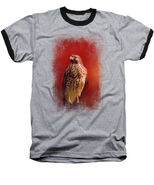 Hawk On A Hot Day Baseball T-Shirt by Jai Johnson