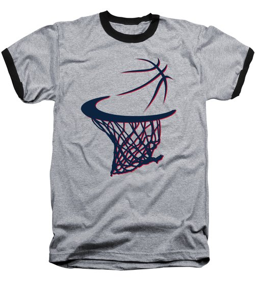 Hawks Basketball Hoop Baseball T-Shirt by Joe Hamilton