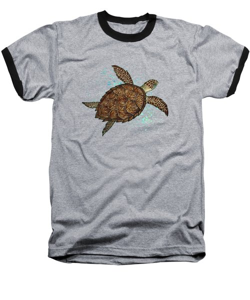 Hawksbill Sea Turtle Baseball T-Shirt by Amber Marine