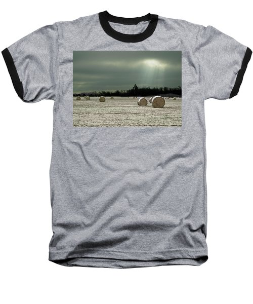 Hay Bales In The Snow Baseball T-Shirt by Judy Johnson