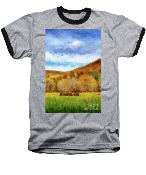 Baseball T-Shirt featuring the photograph Hay Bales by Lois Bryan