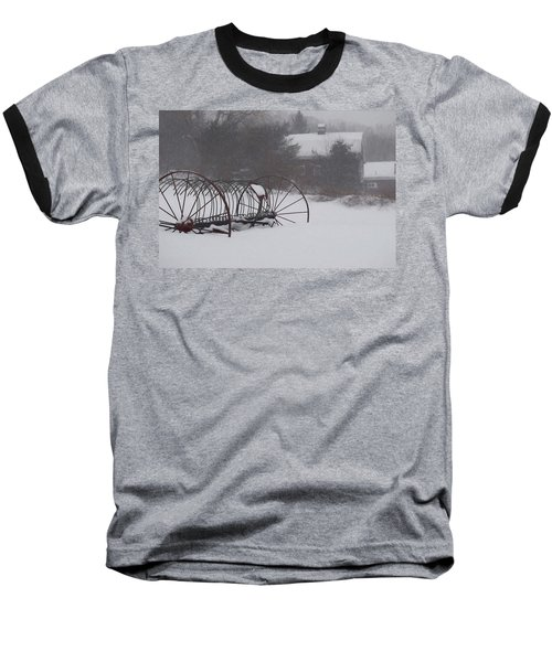 Hay Rake In The Snow Baseball T-Shirt