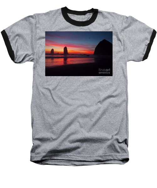Haystack Rock At Sunset 2 Baseball T-Shirt