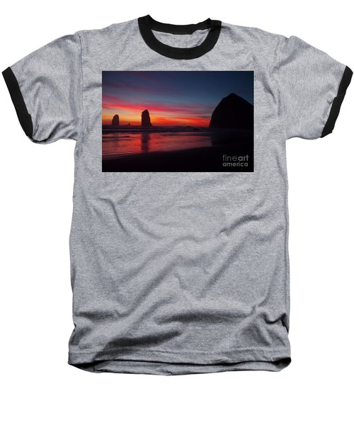 Haystack Rock At Sunset Baseball T-Shirt