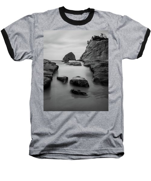 Haystack Rock In Bw Baseball T-Shirt