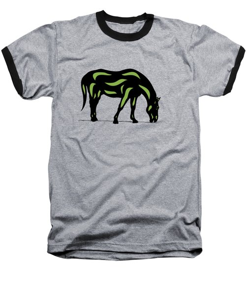 Hazel - Pop Art Horse - Black, Greenery, Purple Baseball T-Shirt